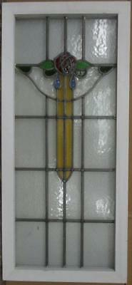 """LARGE OLD ENGLISH LEADED STAINED GLASS WINDOW Stunning Floral Drop 18.5"""" x 41"""""""