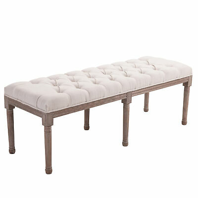 HOMCOM  Stool Bench 3 Person Chic Button Tufted  Bedside Seat End Hallway