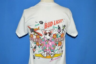 vintage 80s SPUDS MACKENZIE BUD LIGHT SPRING BREAK WHITE COTTON t-shirt SMALL S