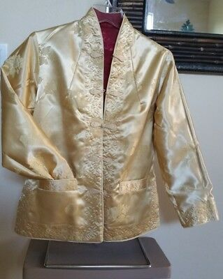 Chinese Reversible Raw SILK Jacket in Gold or Red Solid Womens SMALL 6/8