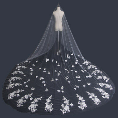 New White Fashion Cathedral Length Wedding Bridal Long Veil Lace Edge Bride ZB
