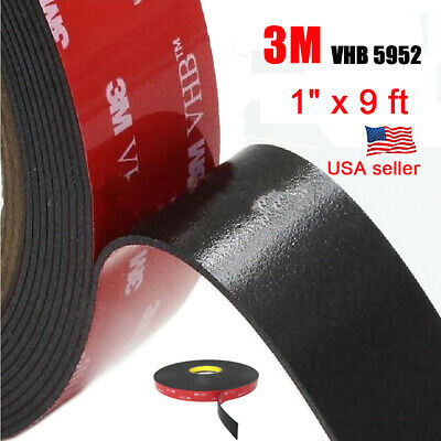 """3M 1"""" x 9 ft VHB Double Sided Foam Adhesive Tape 5952 Automotive Mounting US"""
