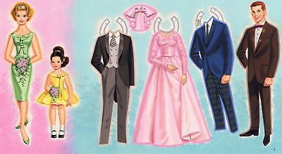 DOUBLE WEDDING 1964 PAPER DOLL Original Art SAALFIELD Double Pages 2-15 PAINTING