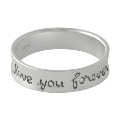 Brand New Solid 925 Sterling Silver 'I Love You Forever' Band Ring - size 9