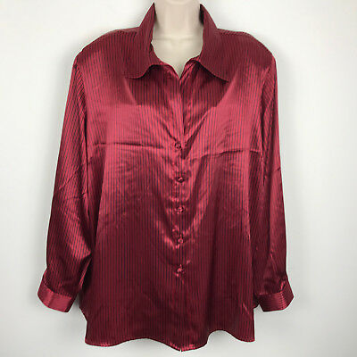 2c783ae6 NEW Dressbarn Womens Christmas Red Striped Button Shirt Top Blouse 2X 22 24  24W