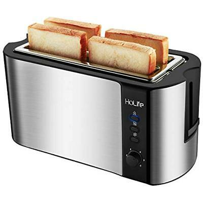 4 Toasters Slice Long Slot Toaster, Stainless Steel Slots With 6 Bread Shade