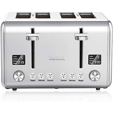 4-Slice Toasters Toaster, Stainless Steel Extra Wide Slots Bagel With 9 Bread