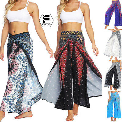 Women's Floral Baggy Pants Casual Loose High Waist Yoga Culotte Palazzo Trousers