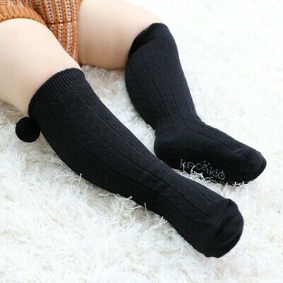 Baby Boy Girl Solid Thermal Pom Romany Long Socks Stretch Cozy Knee-Length Socks