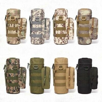 Outdoor Tactical Water Bottle Military Pouch Holder Carrier Molle Kettle Bags 6A