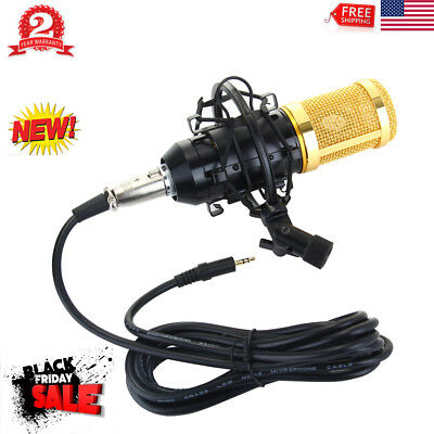 Professional USB Condenser Microphone Mic + Shock Mount Tripod Studio Sound Gold