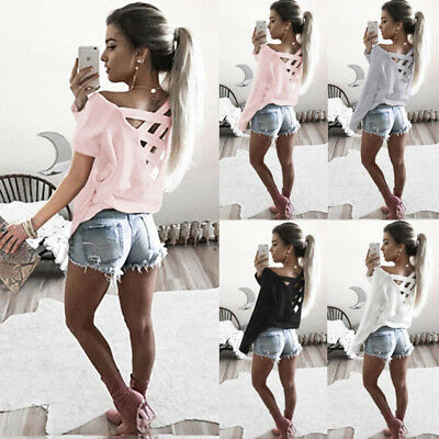 Hot Fashion Womens Long Sleeve Loose Blouse Casual Shirt Summer Tops T-Shirt