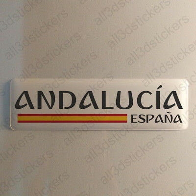 """Andalusia Spain Sticker 4.70x1.18"""" Domed Resin 3D Flag Vinyl Stickers Decal"""