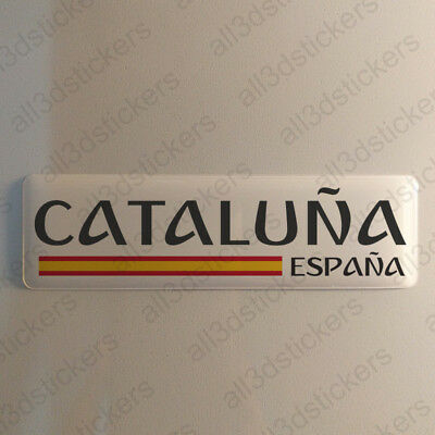 """Catalonia Spain Sticker 4.70x1.18"""" Domed Resin 3D Flag Vinyl Stickers Decal"""