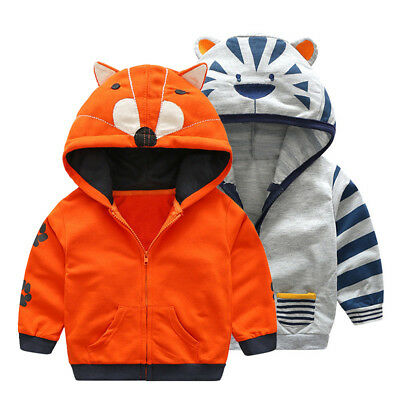 New Cartoon Animal Kids Boys Girls Hoodie Zip-Up Coat Sweater Jacket  Outwear