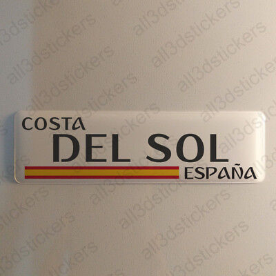 """Costa del Sol Spain Sticker 4.70x1.18"""" Domed Resin 3D Flag Vinyl Stickers Decal"""