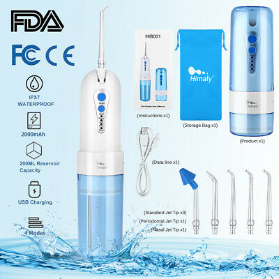 Water Flosser Cordless Portable USB Rechargeable Oral Irrigator IPX7 Waterproof
