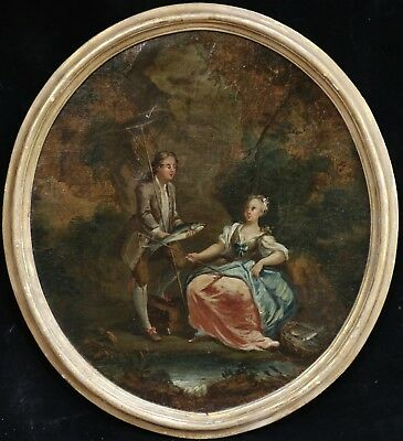 18th CENTURY ENGLISH OLD MASTER OIL ELEGANT FIGURES WITH FISH ON BANKS OF RIVER