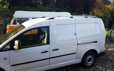 VW Caddy Maxi Camionnette Alu Barres de Toit Rail Set 2010 On ( Long