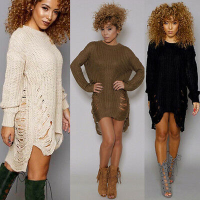 Womens Long Sleeve Sweater Mini Jumper Dress Winter Knitted Baggy Party Fit Tops