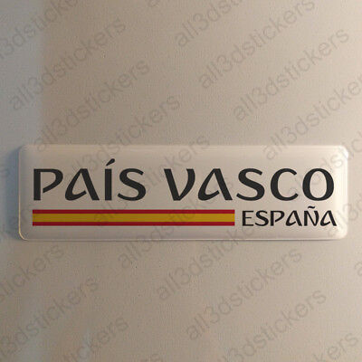 """Basque Country Spain Sticker 4.70x1.18"""" Domed Resin 3D Flag Vinyl Stickers Decal"""