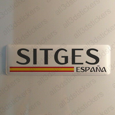 """Sitges Spain Sticker 4.70x1.18"""" Domed Resin 3D Flag Stickers Decal Vinyl"""