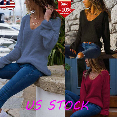 Women V Neck Knitted Sweater Long Sleeve Loose Tunic Knitwear Casual Blouse Tops