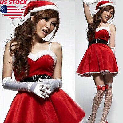 4 Pcs set Fancy Dress Christmas Ladies Santa Claus Xmas Costume Cosplay Outfit