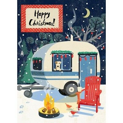 Camping Christmas Cards.Cosy Retro Caravan Dog Fire Camping Christmas Cards Set 6 Classic Retro Vintage