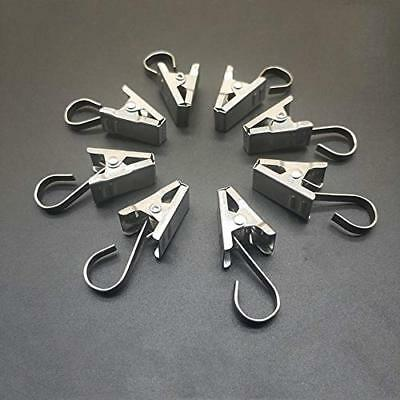 Coideal 100 Pack Stainless Steel Heavy-duty Shower Curtain Clip with Hook String