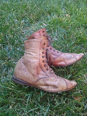 Victorian 1870S Childs Shoes W Witch Point Toe