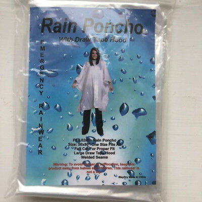 2 x Clear Adult Waterproof Disposable Rain Poncho Hooded, Emergency or Festival