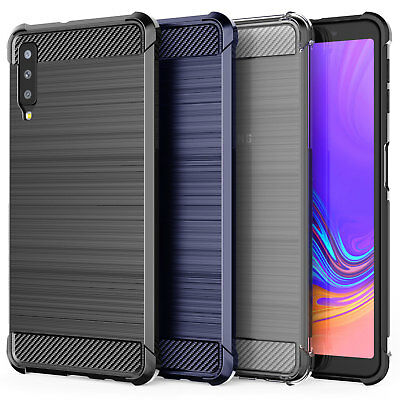 Samsung Galaxy A7 2018 Best Carbon Fibre TPU Silicone Gel Phone Case Cover UK