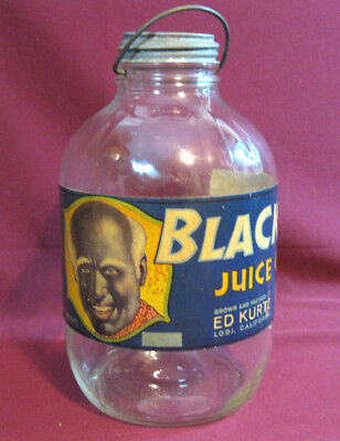 Antique Glass Jar w/ Metal Handle & Black Joe Juice Grapes Crate Label Attached