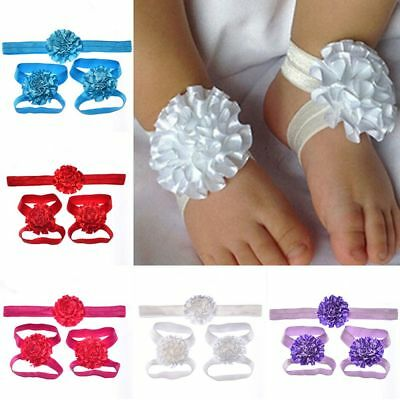 Girls  Baby Set Barefoot Sandals Headband Elastic Hair Band Cute Accessories