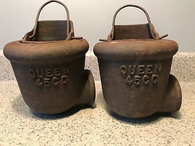 Queen  45CC Cast Iron Farm Well Pump - Water Diverter Cup ~ Lot Of 2- Barn Find!