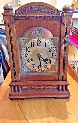 Antique Mantel Cased Clock With Working Pendulum & Wind Up Key
