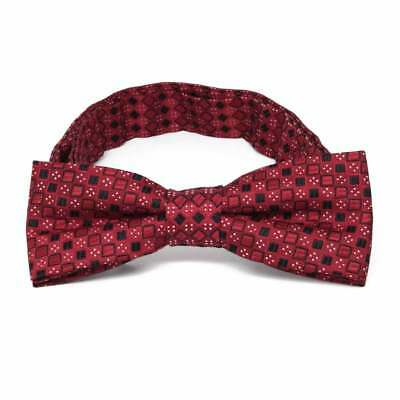 TieMart Boys' Crimson Red Marie Square Pattern Bow Tie
