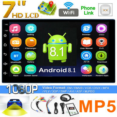 7in WiFi 2Din Quad-Core Android 8.1 Car Stereo MP5 Player GPS AM FM Radio BT4.0