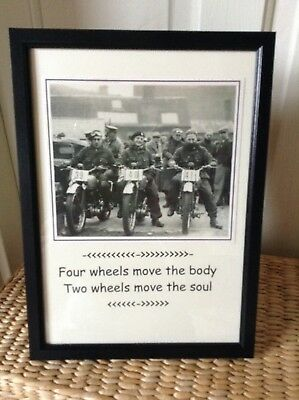 Vintage Trials Motorcycle picture gift.  Two wheels move the soul.