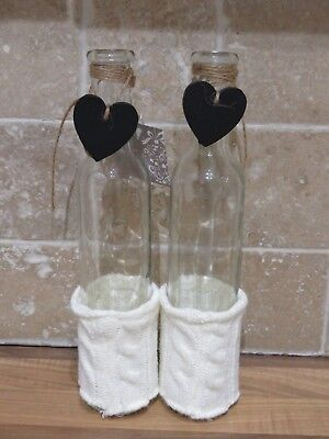 New 2 Shabby Chic glass bottle shape vases with knitted wrap round bottom H 26cm