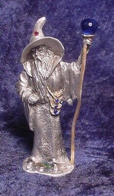 Pewter WIZARD with Staff/Crystal Ball - Satin Finish - Crystal Accents
