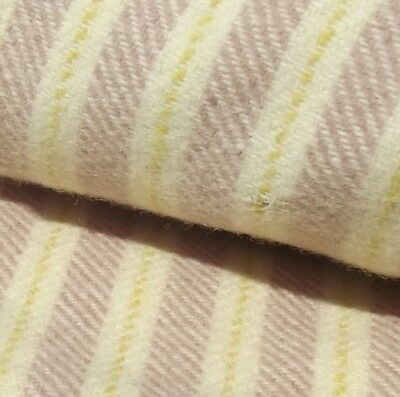 Vintage French Woollen Blanket Fabric Striped Wool Textile cloth by the yard