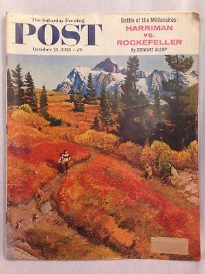 SATURDAY EVENING POST October 25, 1958 ~ Car Two-page Ads Chevy/Ford/Plymouth