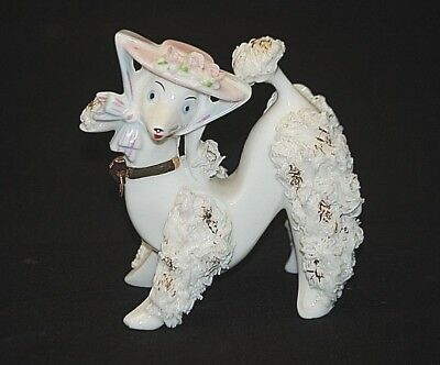 Old Vintage Spaghetti Milk Glass Poodle Dog Figurine w Pink Hat Gold Accents MCM