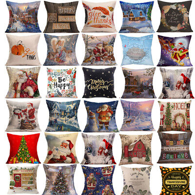 1PC Christmas Cushion Cover Throw Pillow Case Cover Home Decor Festive Gift USPS