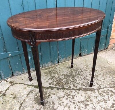 Antique Edwardian Mahogany Chippendale Revival Oval Side Occasional Hall Table