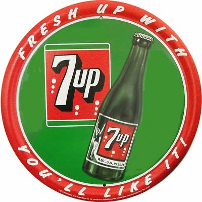Freshen Up With 7-UP Round Vintage Tin Metal Sign Garage/Man Cave Wall Art