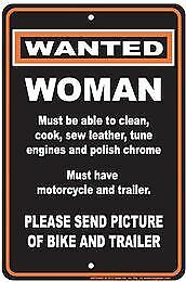 Wanted: Woman to clean, cook, sew, tune engines...Metal Tin Sign Garage Art