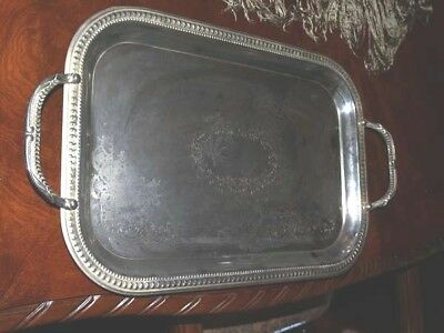 Etched Rectangle Handled Silver plate Serving Tray 17 x 12 Silverplated Sticker